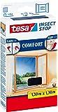 Tesa 55396-00021-00 Fliegengitter für Fenster, Kunststoff, beste tesa Qualität, anthrazit, 1,3m x 1,3m