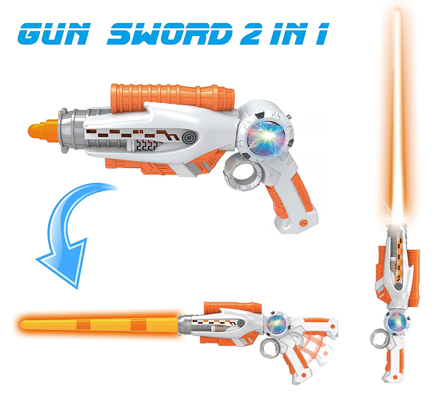 2-in-1 Transforming Gun Sword Light Up Saber Space Blaster Weapon for Kids with Lights & Sounds Liberty Imports