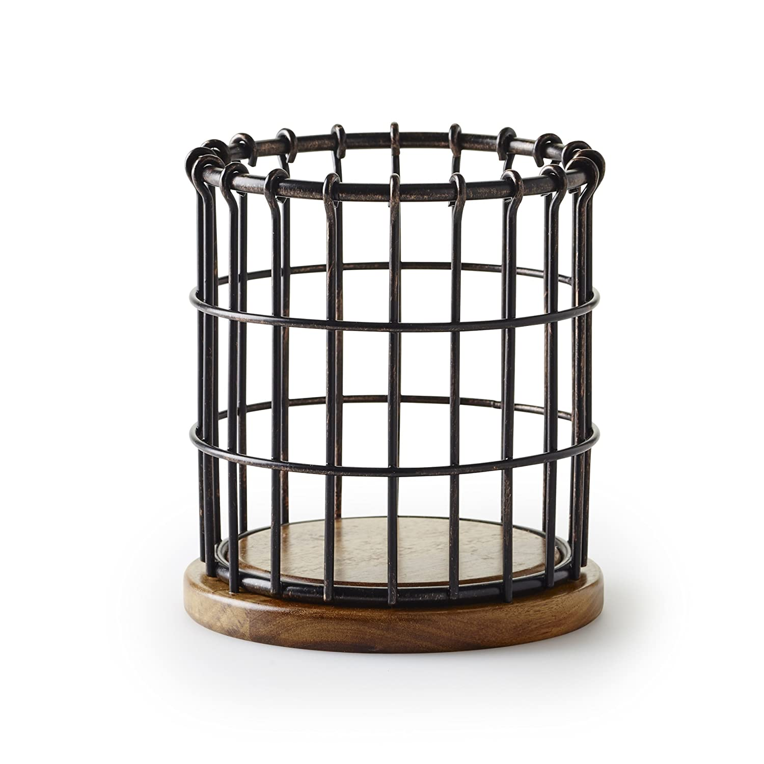 Pfaltzgraff Anvil Cage Wire And Acacia Wood Utensil Holder, Black 5172949