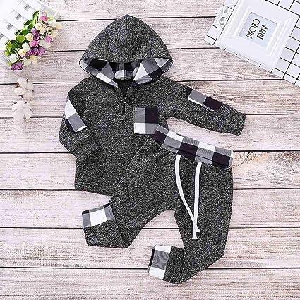 Amazon.com: VonVonCo Infant Toddler Baby Boys Girls Plaid Hooded ...