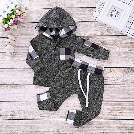 Amazon.com: VonVonCo Infant Toddler Baby Boys Girls Plaid Hooded ...