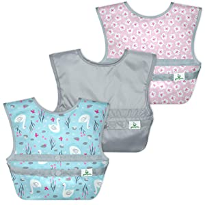 green sprouts Snap & Go Easy-Wear Bibs (3 Pk)   Comfortable, Waterproof Protection for Messy Eaters   Neatly Roll Up for Mess & Utensil Storage, Flipped Pocket Easily Catch Spills, Easy Clean, Aqua