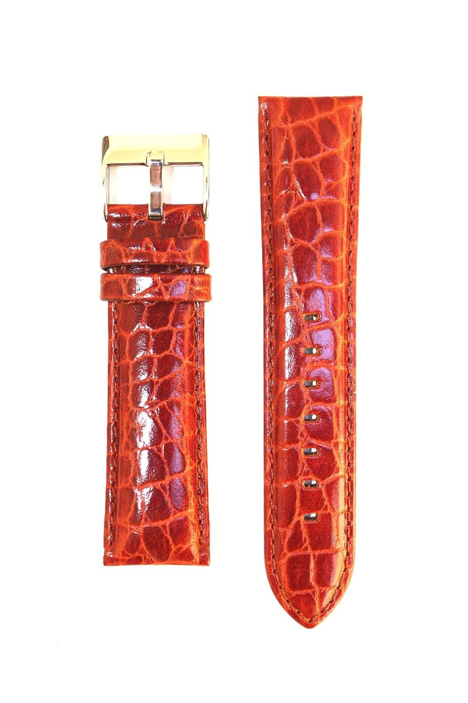 24 mmコニャックBaby Croco Grain Heavy Padded Leatherバンドby Toscana  B005174MCY
