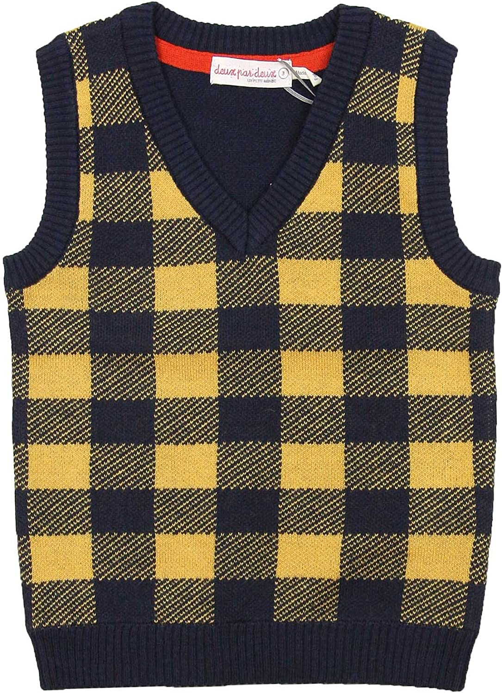Joe Wenko Mens Auutmn Plaid V Neck Waistcoat Pullover Knitted Sweater Vest