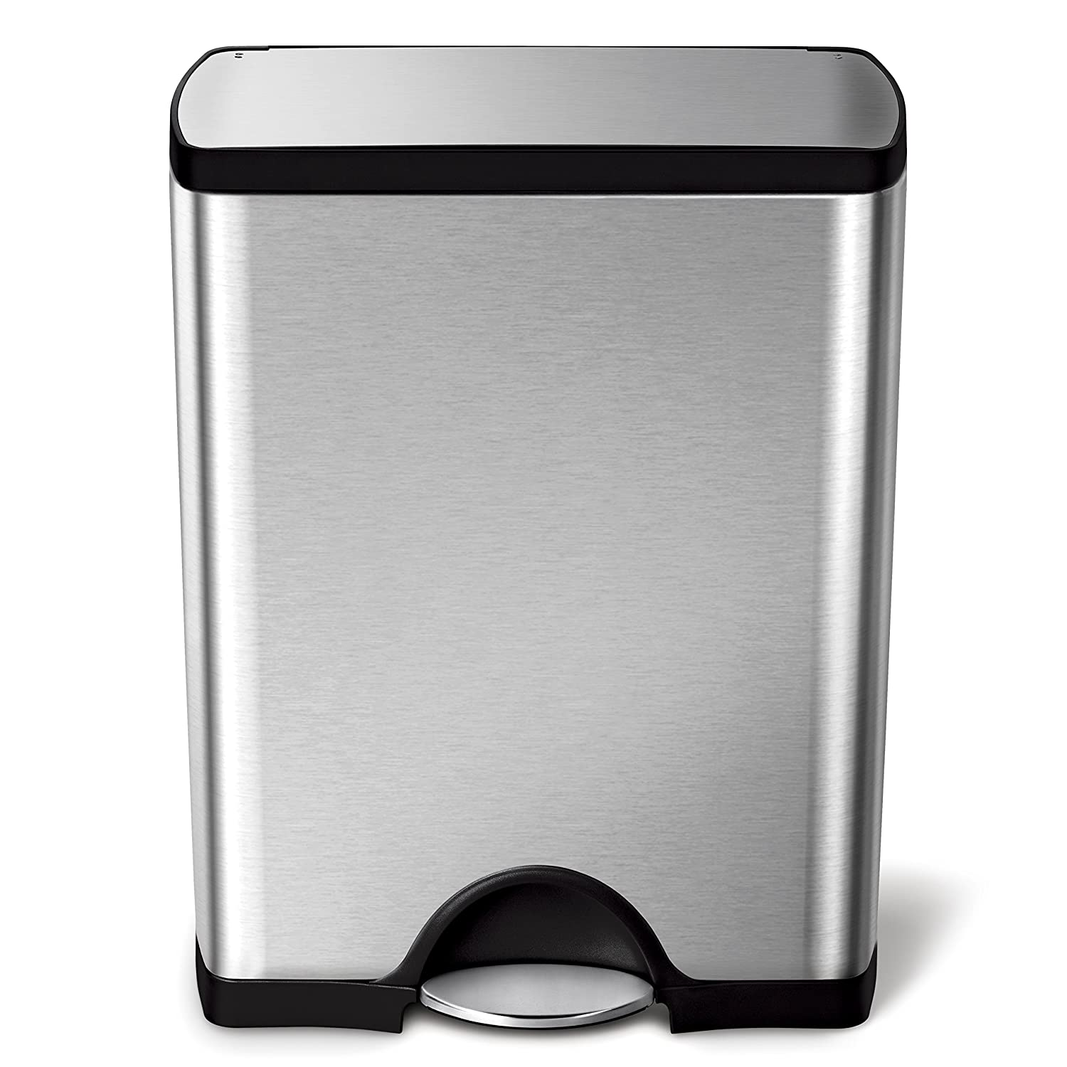 simplehuman Rectangular Step Trash Can, Stainless Steel, 50 L/13.2 Gal