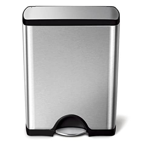 Amazon.com: Simplehuman Rectangular Step Trash Can, Stainless Steel, 50 L /  13.2 Gal: Home U0026 Kitchen