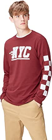 Marca Amazon - find. Camiseta NYC para Hombre, Rojo (Oxblood Red 003), M, Label: M