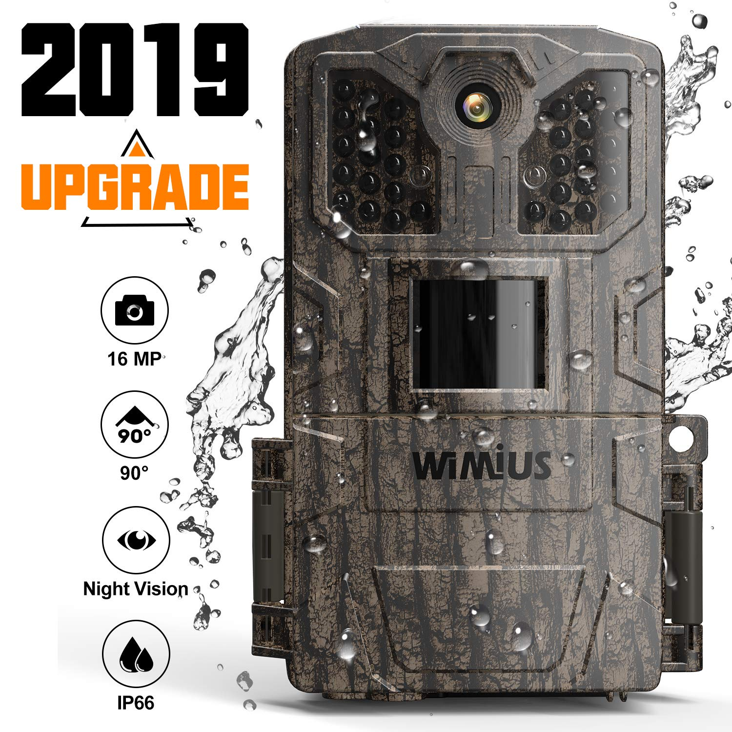 Trail Camera,Game Camera 2019 Upgraded 16M 1080P Hunting Camera with Night Vision Motion Activated Waterproof up to 70ft 0.5s Trigger Speed for Home Security Wildlife Animal Cameras by WiMiUS