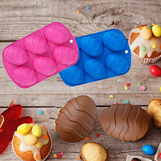 2PC Chocolate and Cake Mold for Kids Easter Egg Shaped Silicone and Dinosaur Theme Silicone Mold with 2 Droppers DIY Baking Tools