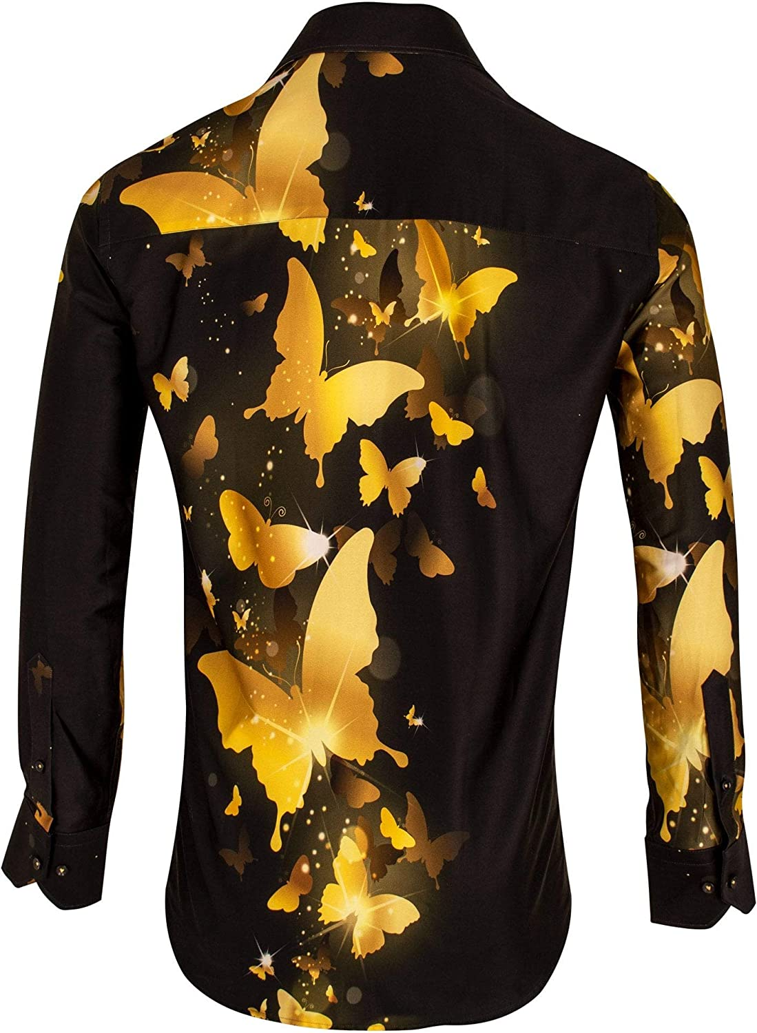 Claudio Lugli Mystical Golden Butterfly Print Mens Shirt Yellow
