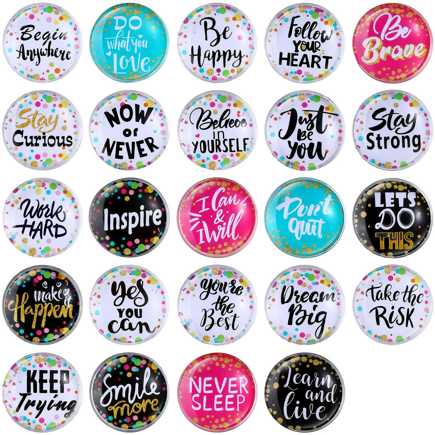 Blulu 24 Pieces Inspirational Magnets, Confetti Positive Saying Accents Motivation Glass Fridge Magnets Round Inspirational Quote Refrigerator Locker Magnet for Classroom Office Home Decorations
