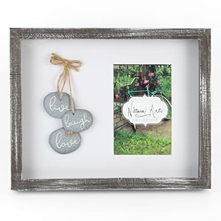 Pebble Art Photo Frame Live Laugh Love Distressed Effect Box Frame ...