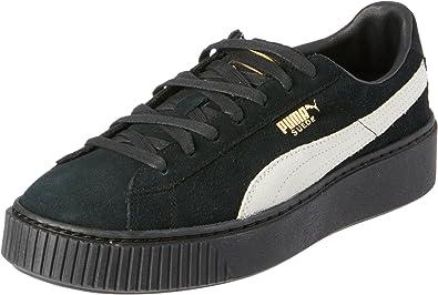 puma suede black white gold