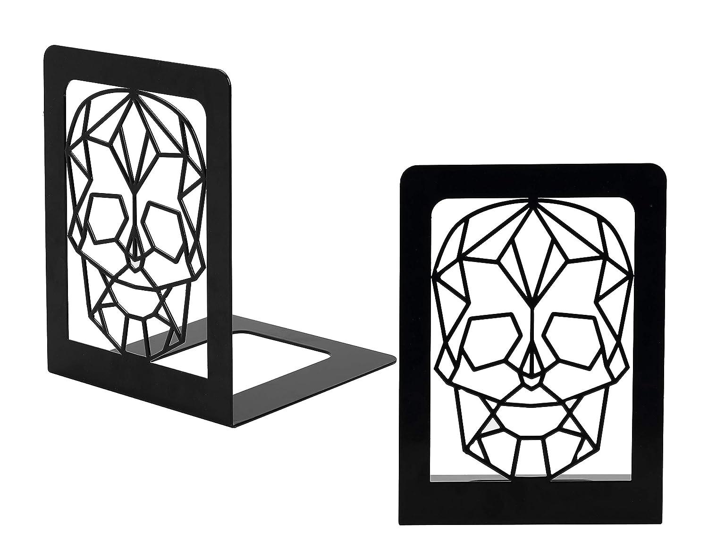 Set di 4 Fermalibri 15 x 15 x 20 cm Reggilibri con motivo di Teschio supporto per libri con design originale in metallo Nero