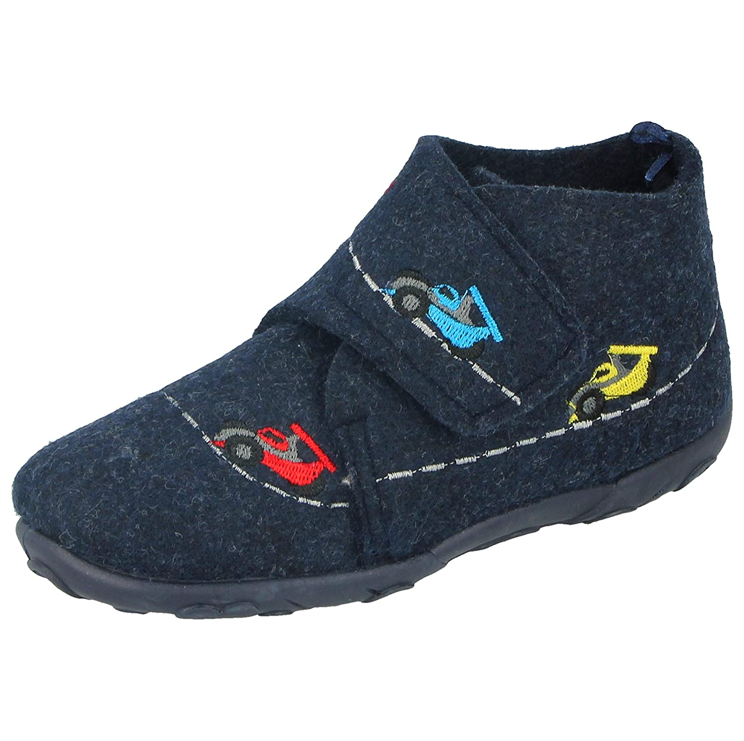 Boys Baby Infant Fire Engine Police Cars Slip On Warm Fleece Lined Hard Sole Slippers Size 4-13