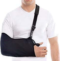 Cabestrillo para brazos -Ligero - Estabilice el brazo, el hombro y la muñeca después de lesiones o para un brazo roto - Negro - Medium