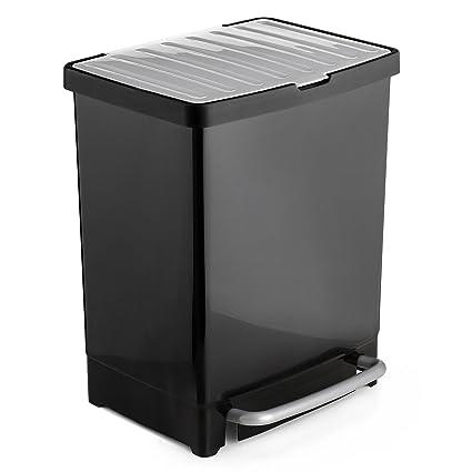 Tatay 1101600 Cubo Reciclaje con Dos Compartimentos Apertura a Pedal cubeta Extraible para Materia orgánica de 8 litros, Negro, 33,5 x 31 x 42 cm