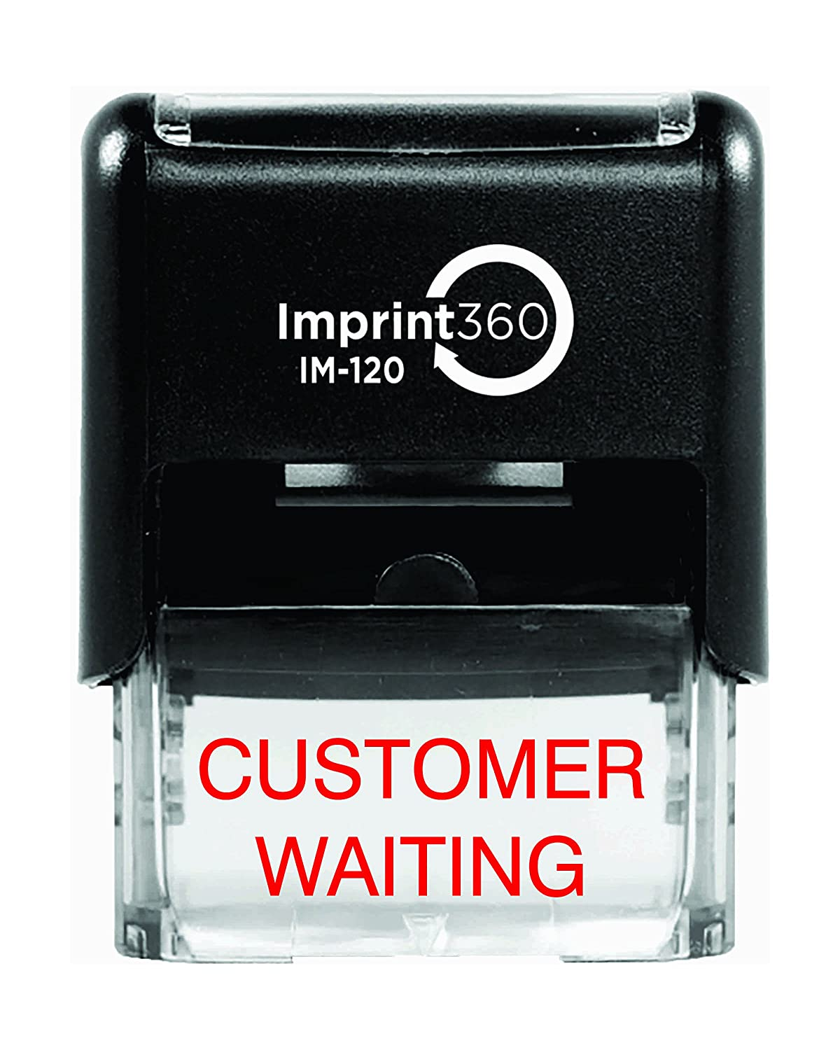 """Supply360 AS-IMP1056 - Customer Waiting, Heavy Duty Commerical Quality Self-Inking Rubber Stamp, Red Ink, 9/16"""" x 1-1/2"""" Impression Size, Laser Engraved for Clean, Precise Imprints"""