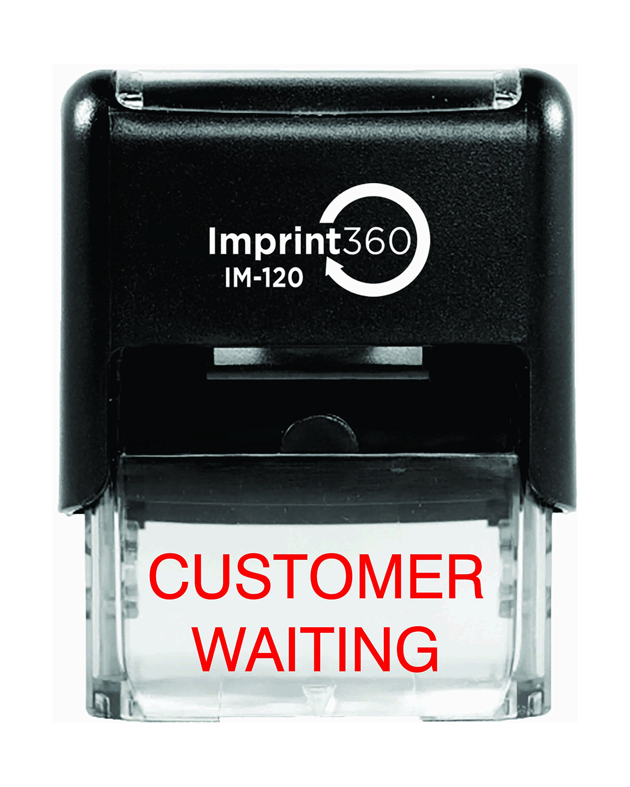 Imprint 360 AS-IMP1056 ''CUSTOMER WAITING'' Heavy Duty Commercial Quality Self Inking Rubber Stamp, Laser Engraved for Clean, Precise Imprints, 1/2'' Impression Size, 9/16'' x 1'', Red Ink