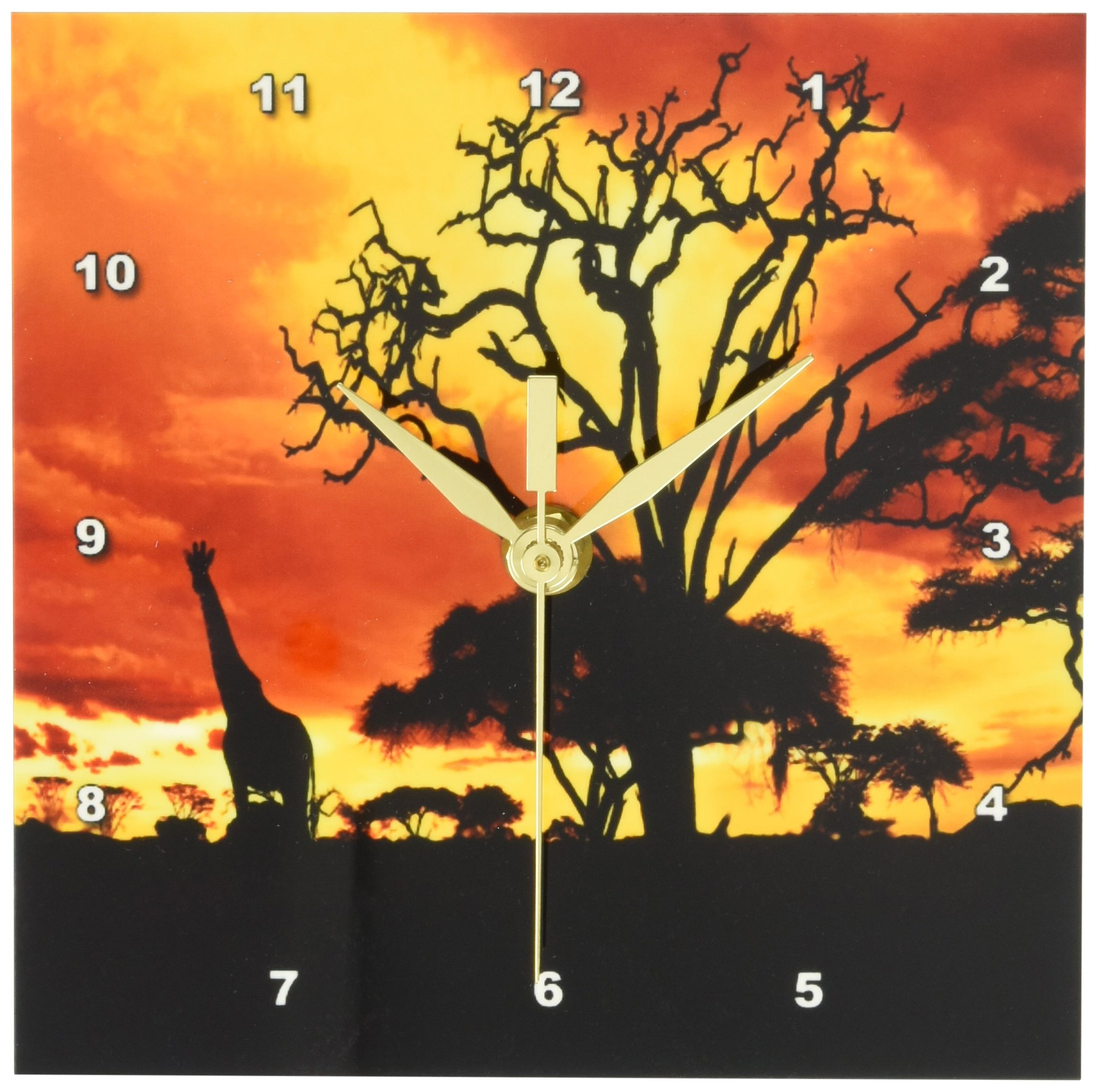 3dRose dc_173293_1 African Giraffe on African Plains At Sunset, Animal Safari Africa Desk Clock, 6 by 6-Inch