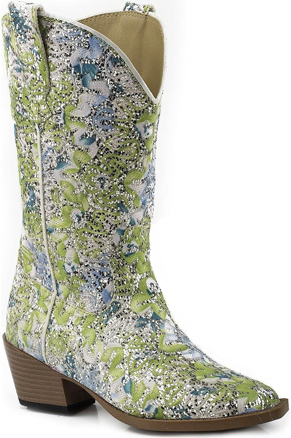 Roper Girls Glittery Floral Cowgirl Boot Snip Toe Size 11