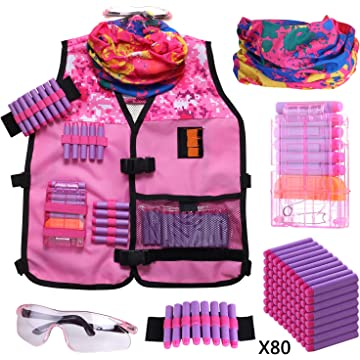 Girls Tactical Vest Kit Compatible with Nerf Guns N-Strike Elite Series with Refill Darts, Reload Clips, Tactical Mask, Wrist Band and Protective Glasses for Girls by Hely Cancy