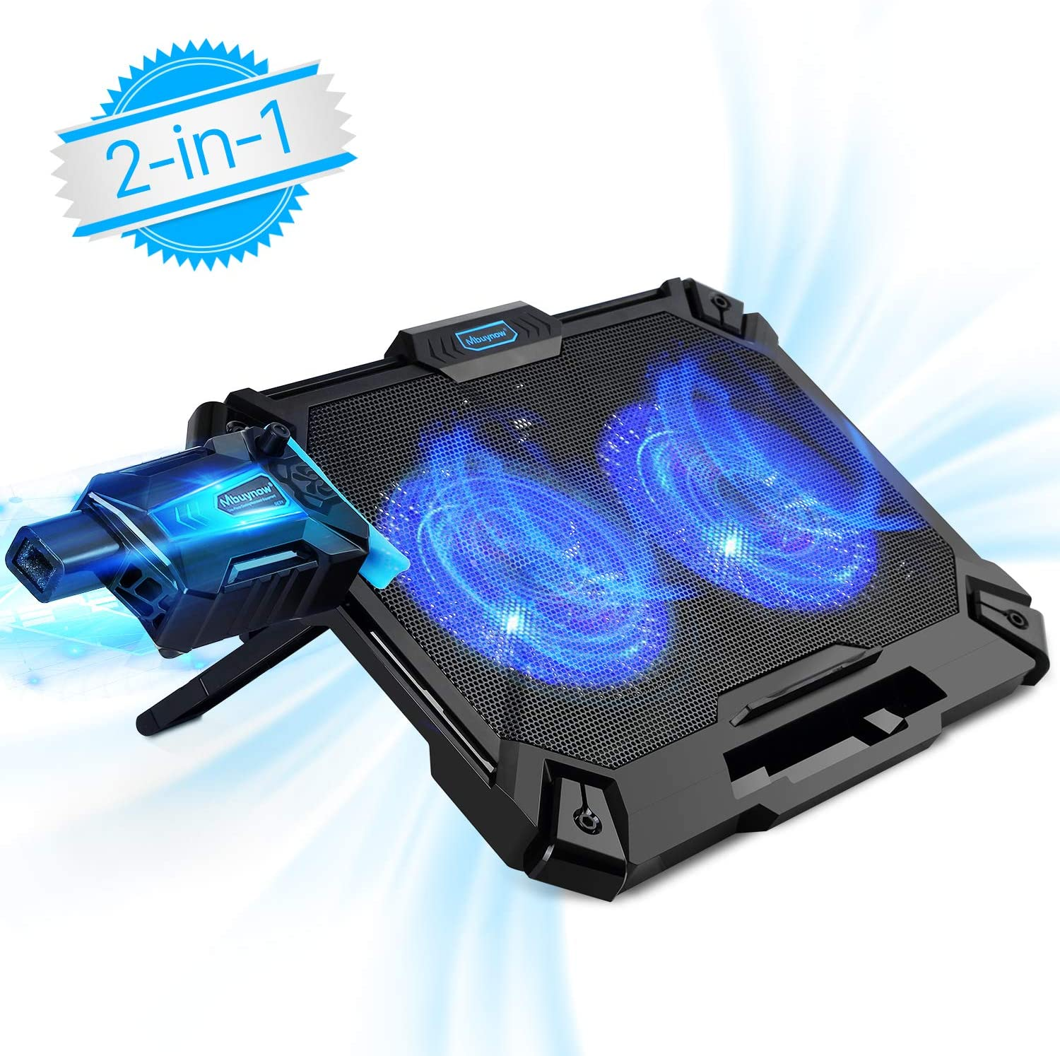 Laptop Cooler 15.6 Inch, Mbuynow 2 in 1 Laptop Cooling Pad with Mini Vacuum USB Laptop Fan - Slim Portable - Intelligent Temperature-Control, Silencer, 8 Level Adjustable Height Stand and Phone Holder