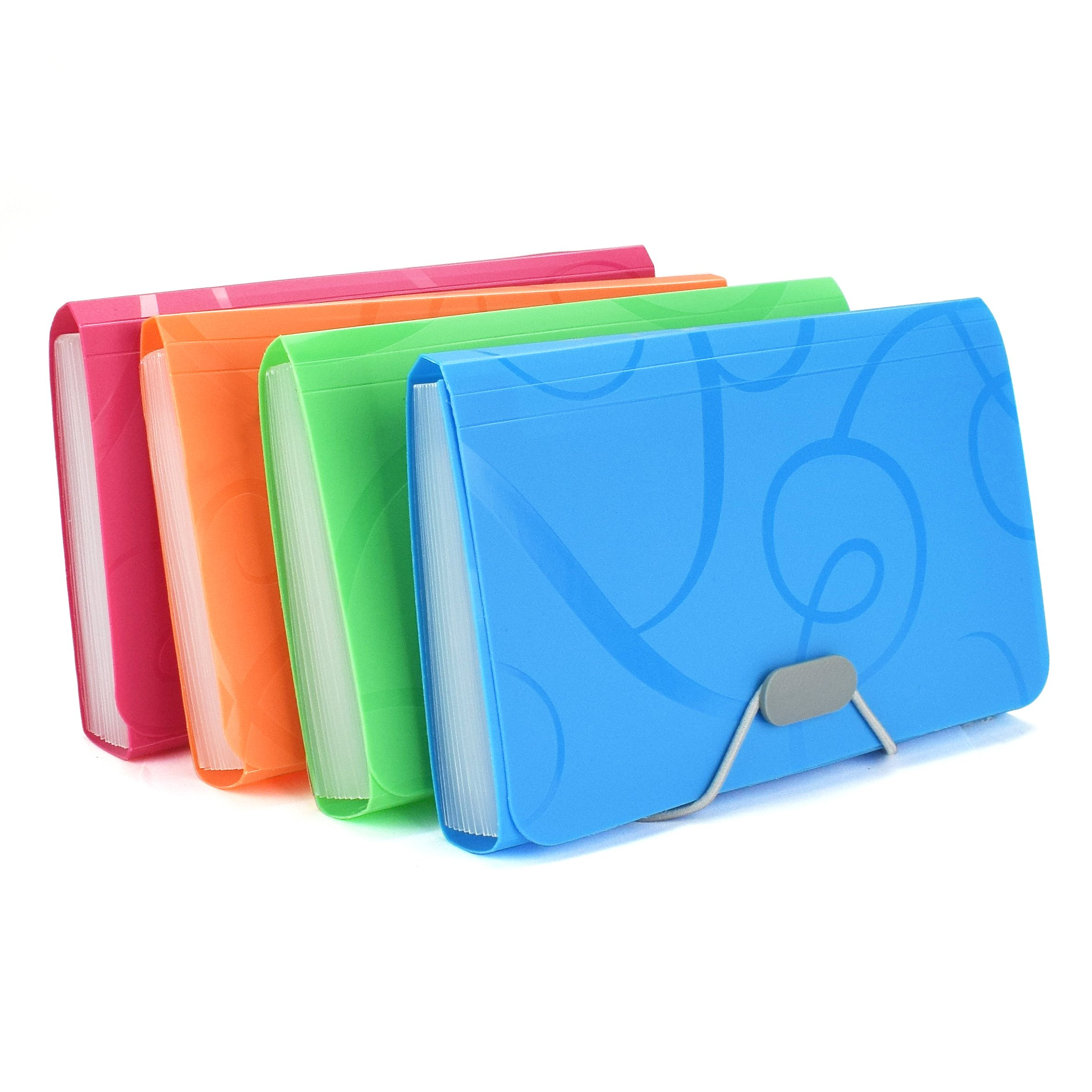 EsOfficce Expanding File Folder, Accordian File Organizer, 13 Pockets A6 Organizer Folder with 12 Labels Rope Buckle Closure,PP Wallet Organizer for Receipts, Coupons and Tickets, 4 Pcs/Pack
