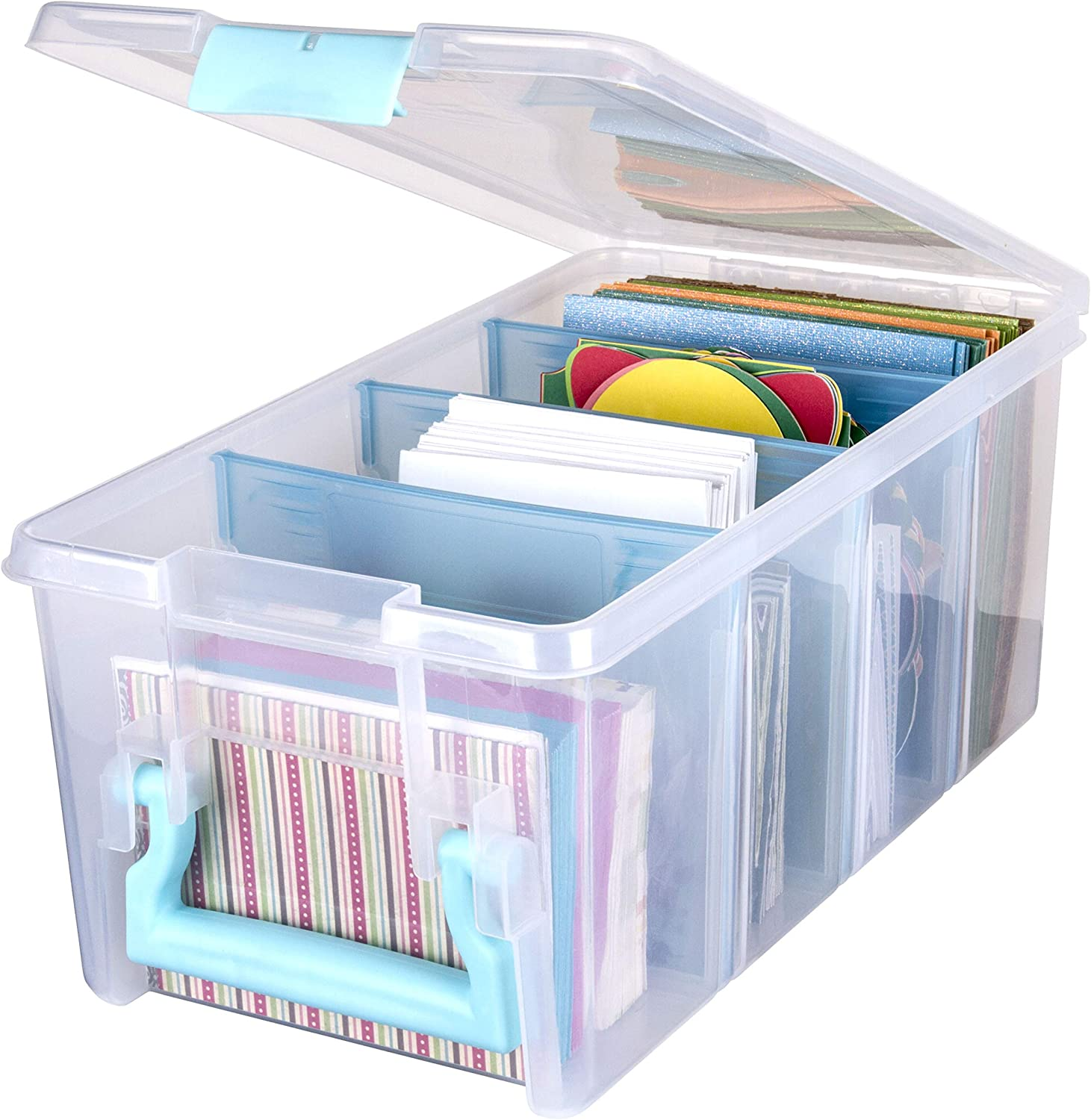 ArtBin 6925AA Semi Satchel with Removable Dividers, Portable Art & Craft Organizer with Handle, [1] Plastic Storage Case, Clear with Aqua Accents
