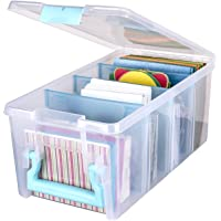 ArtBin 6925AB Semi Satchel Box - Clear, Plastic Art and Craft Supplies Box with Gold Dividers, Handle and Latch Aqua