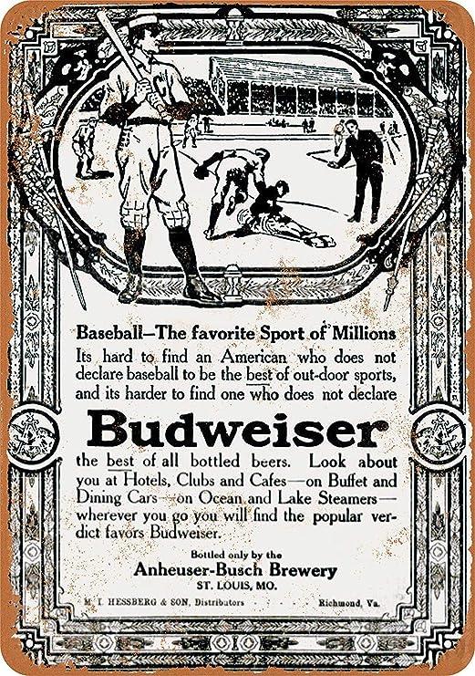 Kia Haop 1910 Budweiser Beer & Baseball Metal Fender Cartel ...