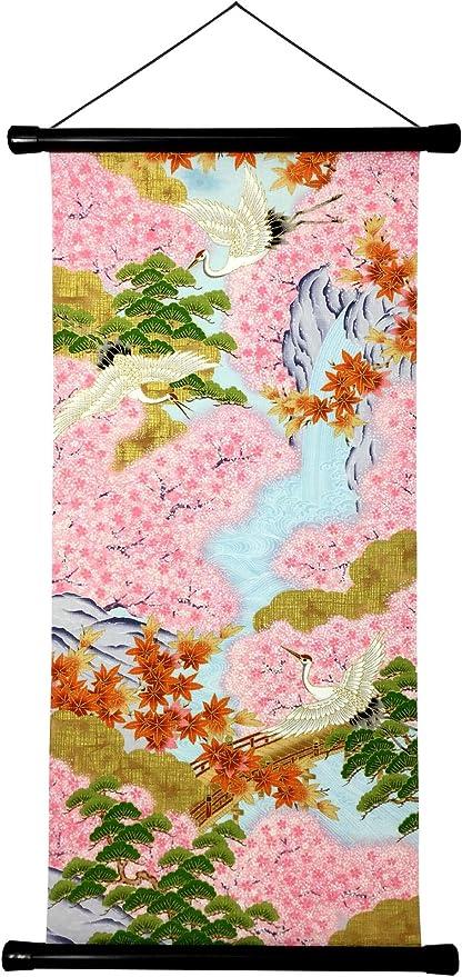 Wood,Japanese Art Asia,Japan Art,Wall Art,Home Decor,kakejiku Japanese scroll vintage Hanging Scroll japan Japanese man,stream,nature