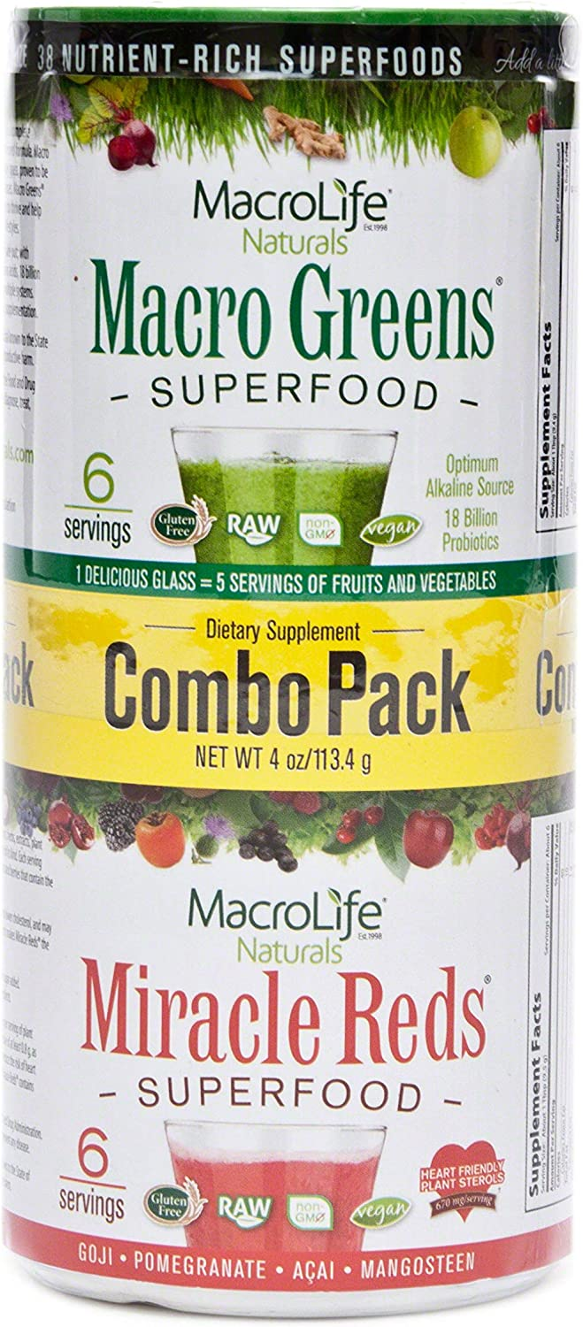 Macrolife Naturals, Superfood Greens And Red Combo Pack, 4 Ounce
