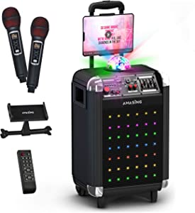 MASINGO Bluetooth Karaoke Machine for Adults and Kids - Portable Singing Equipment Set W/ 2 Wireless Microphones - PA Speaker System with Disco Ball, LED Lights & TV Cable- AMASING Soprano X1 (Black)