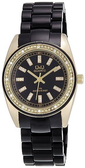 Q&Q GQ13J002Y - Reloj analógico de cuarzo para mujer con correa de plástico, color negro