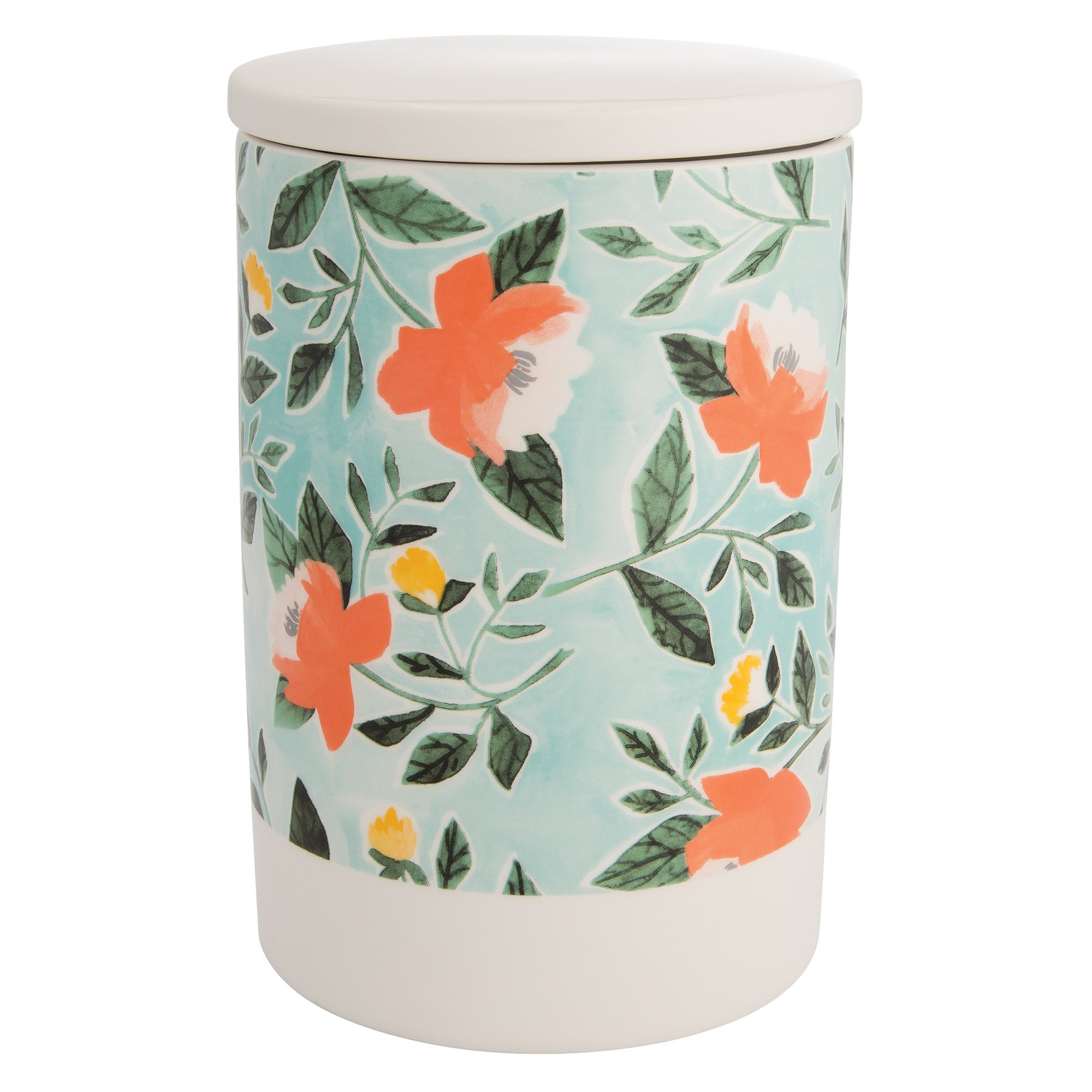 Vandor 35047 1Canoe2 Peony + Mint Ceramic Kitchen Storage Canister with Lid, 8.2 x 5.5 Inches