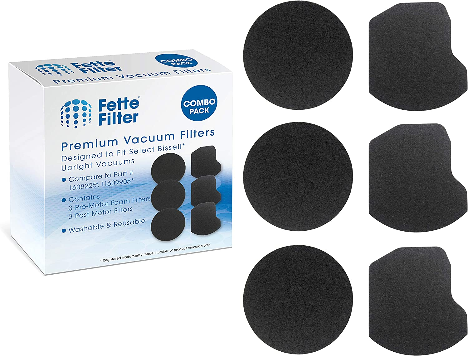 Fette Filter - Vacuum Filter Kit Compatible with Bissell Power Force Helix Turbo Rewind Upright Vacuum 1797. Compare to Part # 1608225 & 1609905. Combo Pack