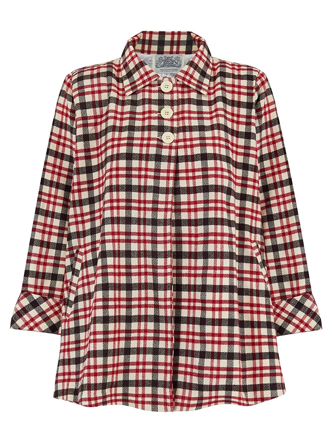 1940s Coats & Jackets Fashion History 1940s Inspired Vintage Swing Jacket in Red/White Check by The Seamstress of Bloomsbury £125.00 AT vintagedancer.com