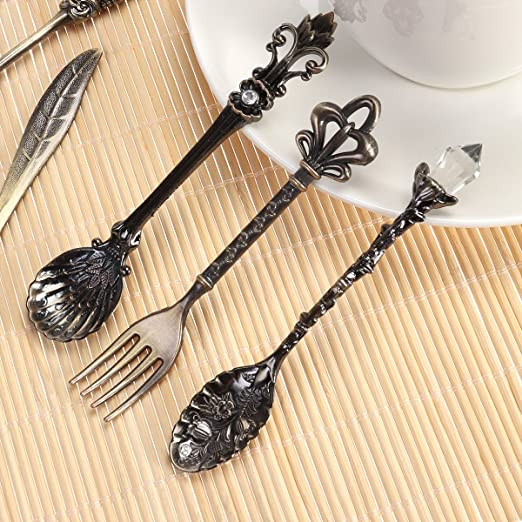 BESTOMZ Cubiertos Set Cuchara Tenedor Cuchara de Café Vintage 6 piezas (Bronce): Amazon.es: Hogar