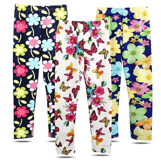 79b60beec BOOPH 3 Pack Girls Pants Soft Stretchy Baby Toddler Girl Legging Flower  Butterfly Printing Kids Long