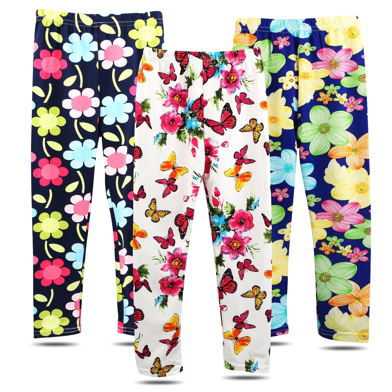 BOOPH 3 Pack Girls Pants Soft Stretchy Baby Toddler Girl Legging Flower Butterfly Printing Kids Long Pant 6-7 Year