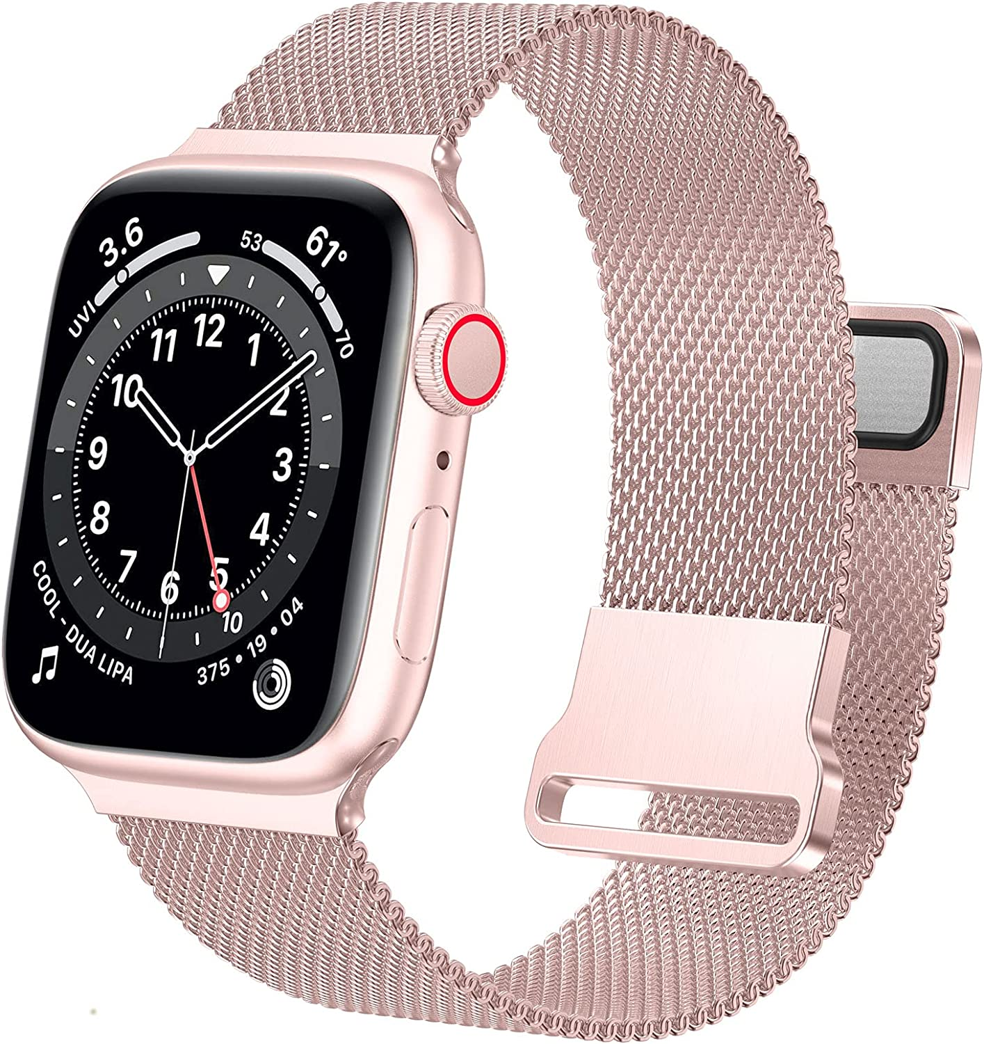 Ycysh Metal Band Compatible with Apple Watch Bands 38mm 40mm for Women Men, Stainless Steel Mesh Loop Adjustable Magnetic Strap Replacement for iWatch Series 6 5 4 3 2 1 SE (38/40mm-Rose Gold Pink)