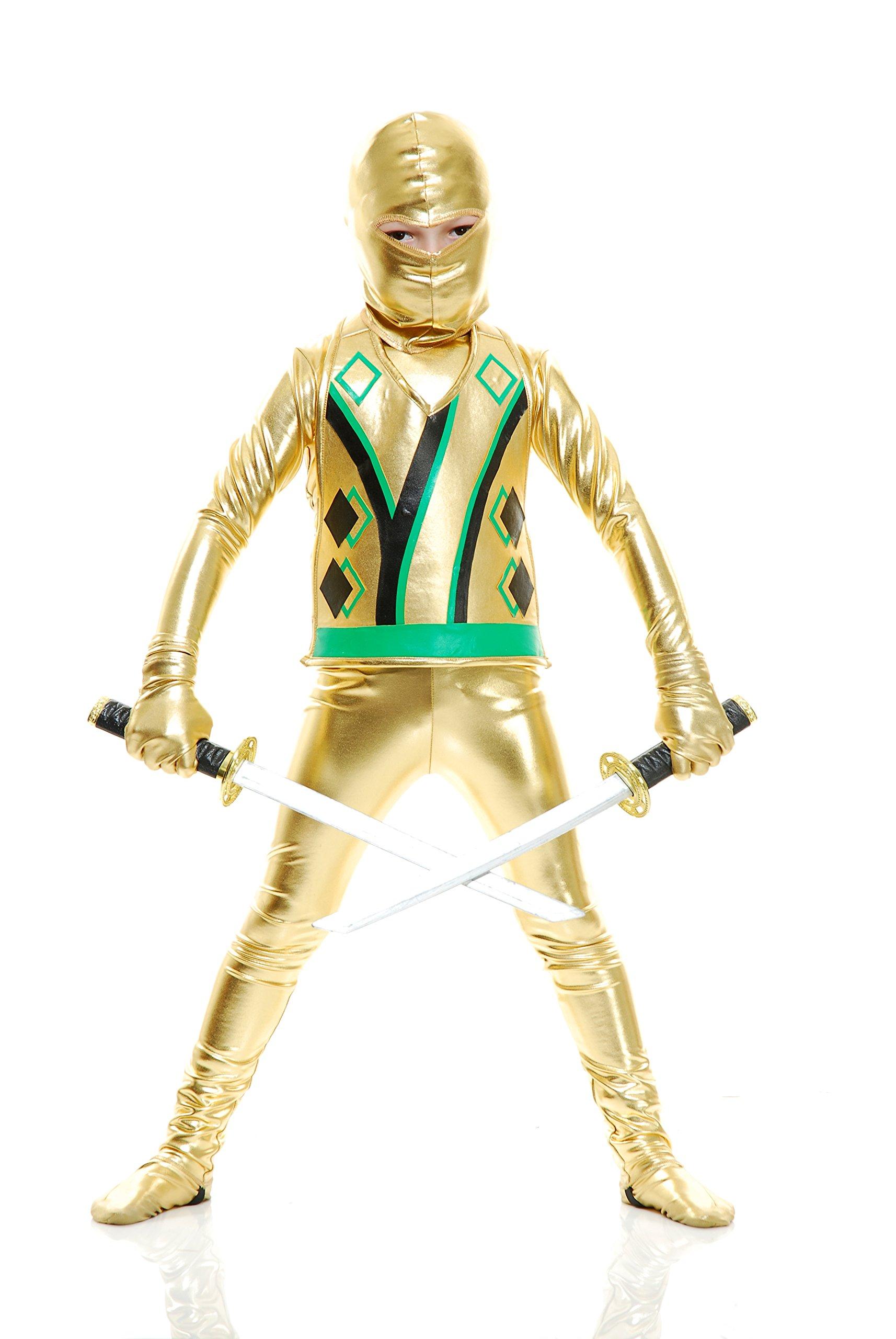 Charades Child Golden Ninja Series III Costume Jumpsuit, Gold, X-Small