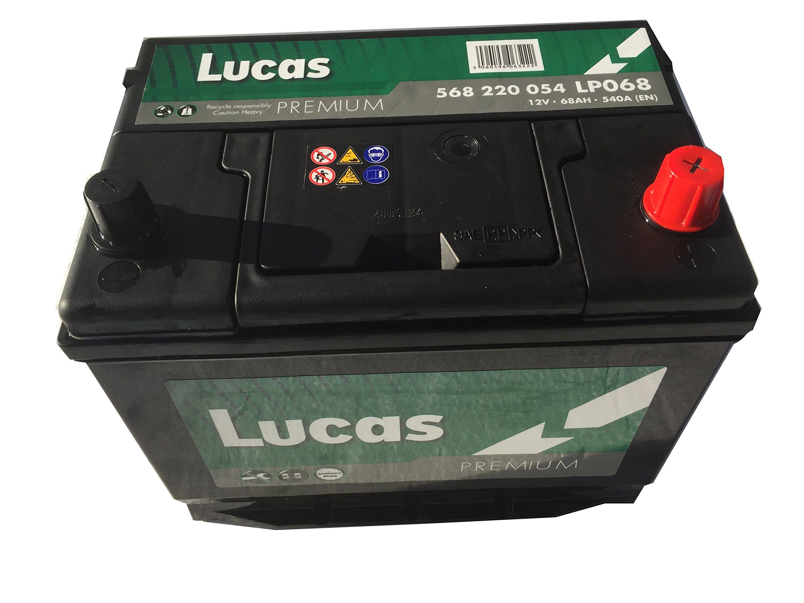 Lucas Premium Lp068 Car Battery, 12V, 68Ah, 540 Amps (En).