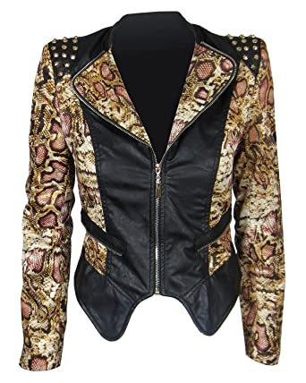 22b539ee1fe6 Womens Animal Print Biker Leather Jacket Cheetah Leopard Gold Studded Studs  (10, Cheetah)