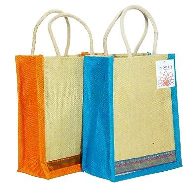 26c1ab4483 INDOZY Jute Bag for Lunch Tiffin with Zip Plain Jute Carry Hand-Bag Women  Men