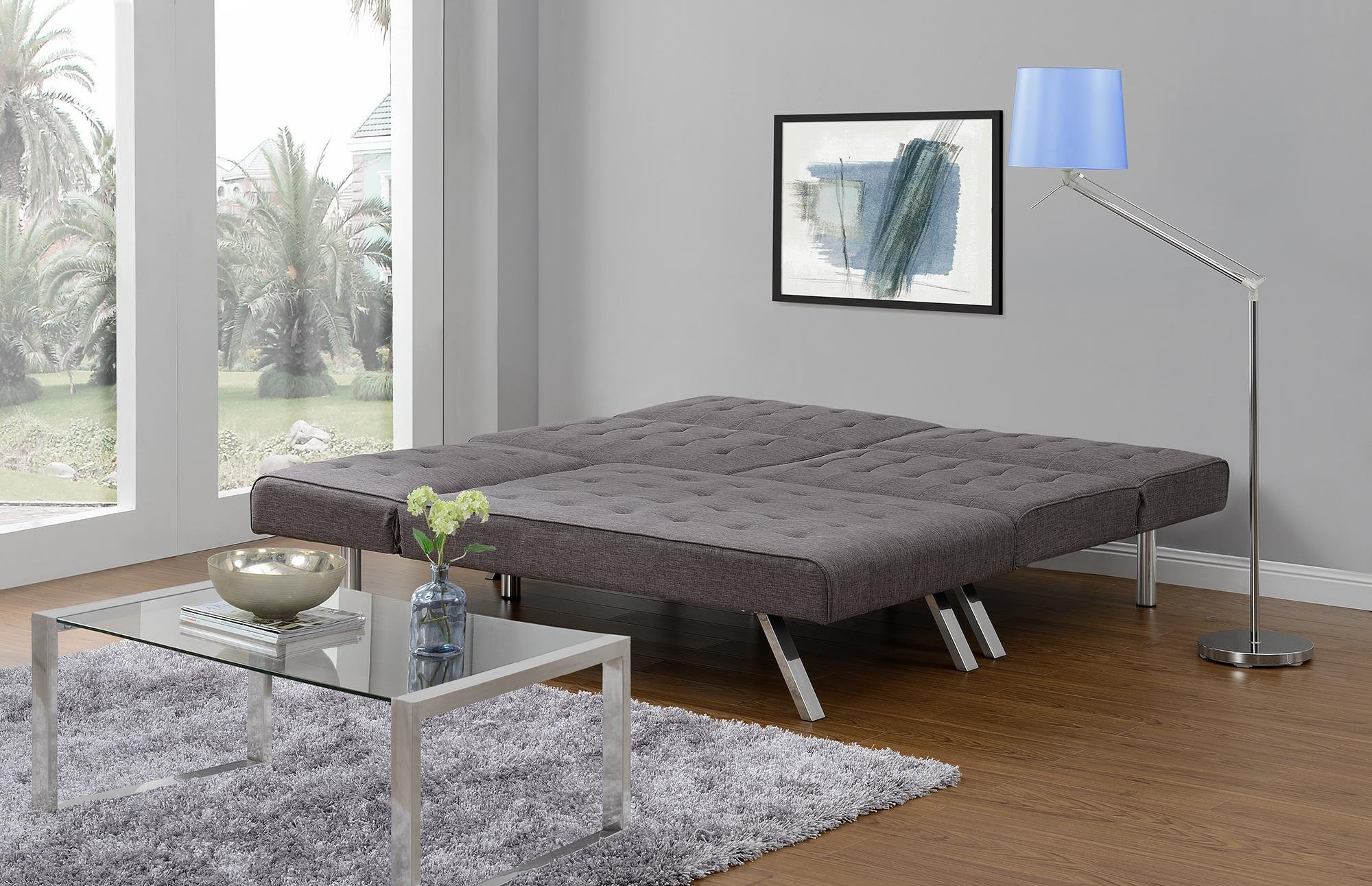 DHP Emily Linen Chaise Lounger, Stylish Design with Chrome Legs, Grey by DHP (Image #10)