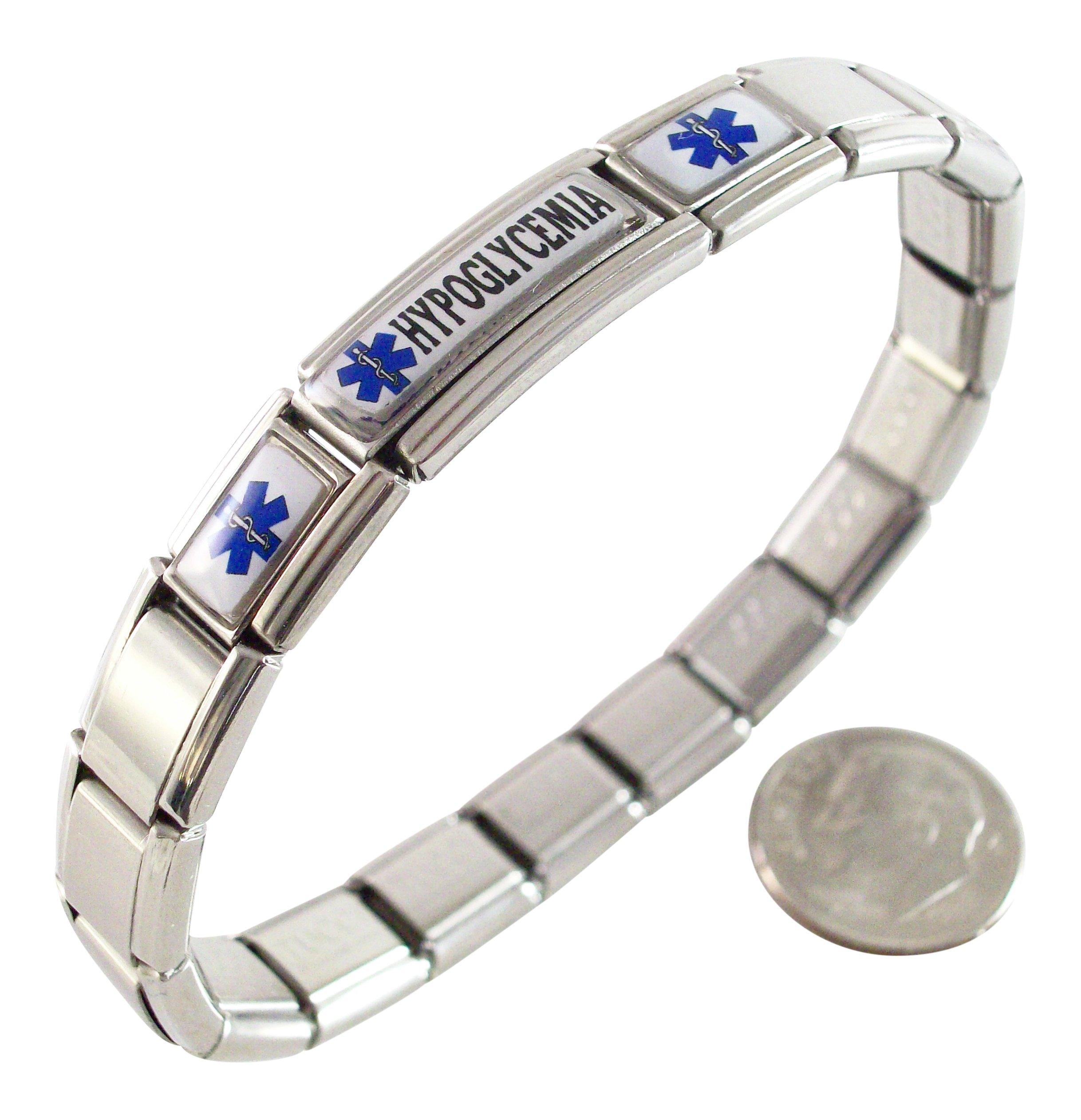 Gadow Jewelry Hypoglycemia Medical ID Alert Italian Charm Bracelet