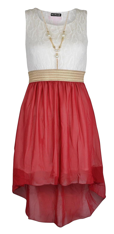 Noroze Girls Sleeveless Asymmetrical Chiffon Dress + Necklace