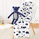 Amazon Basics Kids Bear Buddies Patterned Throw Blanket with Stuffed Animal Bear